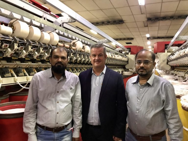 Photo: From left to right-Mr. Aijaz Ahmed Faridi, Sr. General Manager Production, Jamuna Group Spinning Division, Mr. Thomas Sifrig, Sales Manager Loepfe Brothers Ltd., Mr. Rashid Ali, General Manager Quality, Jamuna Group Spinning Division